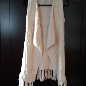 Sonoma Cream Fringed Asymmetric Sweater Vest